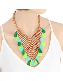 Bohemia Green Tassel Decorated Hollow Out Design Necklace