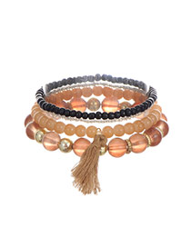 Fashion Brown Tassel&pearls Decorated Multi-layer Simple Bracelet