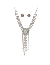 Fashion Silver Alloy Diamond Single Layer Flower Necklace Set