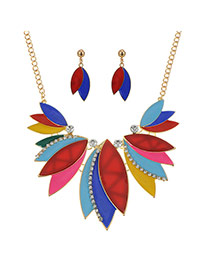 Sweet Multi-color Leaf Shape Pendant Decorated Short Chain Jewelry Sets