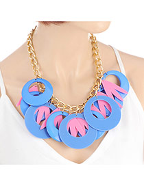 Exaggerate Blue+pink Round Shape Decorated Simple Tassel Necklace