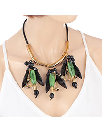 Exaggerate Green Flower Pendant Decorated Simple Short Chain Necklace