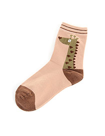 Lovely Coffee Cartoon Giraffe Pettern Decorated Simple Socks