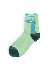 Lovely Green Cartoon Giraffe Pettern Decorated Simple Socks