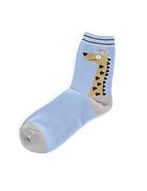 Lovely Blue Cartoon Giraffe Pettern Decorated Simple Socks