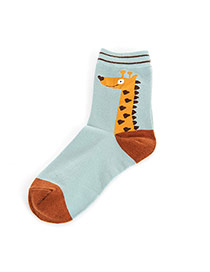 Lovely Blue+brown Cartoon Giraffe Pettern Decorated Simple Socks