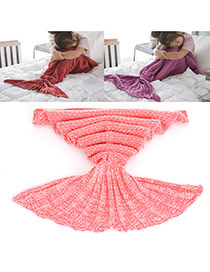 Sweet Pink Pure Color Decorated Merman Design Simple Blanket