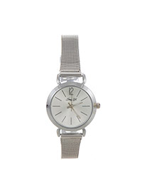 Fashion Silver Color Pure Color Decorated Simple Wrist Watch