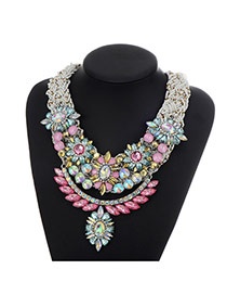 Fashion Multi-color Geometric Shape Diamond Decorated Multilayer Necklace