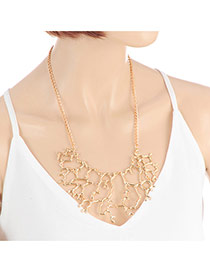 Elegant Gold Color Hollow Out Branch Shape Pendant Decorated Simple Necklace