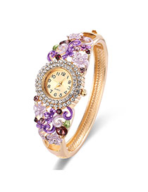 Fashion Gold Color+purple Diamond Decorated Flower Shape Design Color Matching Watch