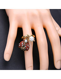 Vintage Antique Gold Pearls&diamond Decorated Ladybird Shape Simple Ring