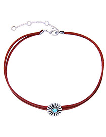 Vintage Red Flower Decorated Double Layer Simple Necklace