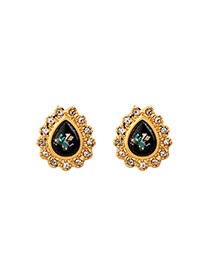 Fashion Black Water Drop Shape Diamond Decorated Color Matching Earrings