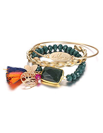Fashion Green Tassel&tree Pendant Decorated Multi-layer Color Matching Bracelet