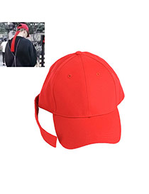 Fashion Red Big Ring Decorated Pure Color Design Simple Baseball Hat