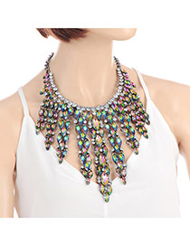 Fashion Green+plum Red Oval Shape Diamond Decorated Tassel Design Simple Necklace