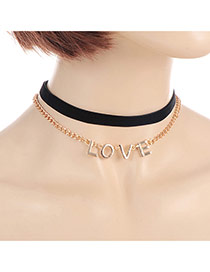 Fashion Black Letter Love Pendant Decorated Double Layer Choker