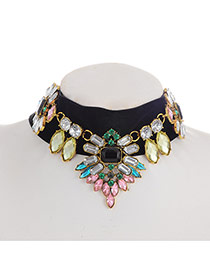 Elegant Multi-color Geometric Gemstone Decorated Simple Chocker
