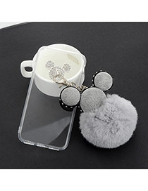 Sweet Gray Mouse Head&ball Shape Decorated Transparent Iphone7 Case