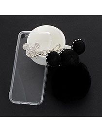 Sweet Black Mouse Head&ball Shape Decorated Transparent Iphone7 Case