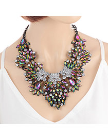 Fashion Green +plum Red Oval Shape Decorated Color Matching Flower Shape Necklace
