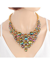 Fashion Green +plum Red Round Shape Diamond Decorated Hollow Out Design Necklace