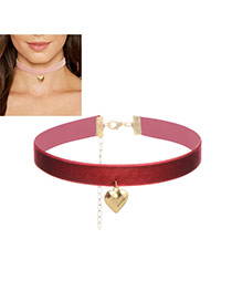 Fashion Claret Red Heart Pendant Decorated Color Matching Width Choker