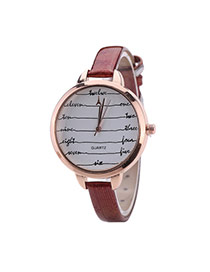 Fashion Red Digital Pattern Decorated Round Dail Thin Strap Woman Watch