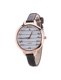 Fashion Black Digital Pattern Decorated Round Dail Thin Strap Woman Watch