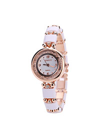 Fashion White Square Shape Gemstone Decorated Round Dail Simple Watch