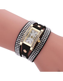 Fashion Black Diamond Decorated Square Shape Dial Multi-layer Watch