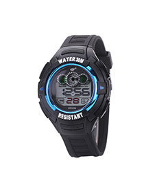 Fashion Blue Letter Pattern Decorated Round Dail Pure Color Strap Waterproof Watch