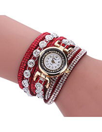 Fashion Red Diamond Decorated Round Shape Dial Multi-layer Watch