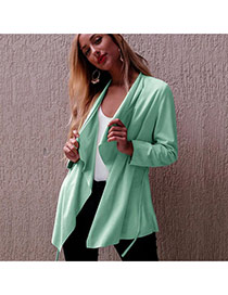 Fashion Green Pure Color Decorated Long Sleeve Bandage Design Coat