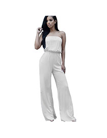 Fashion White Pure Color Decorated Strapless Design Simple Jumpsuit