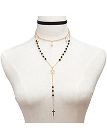 Fashion Black Cross&pearls Pendant Decorated Multi-layer Necklace