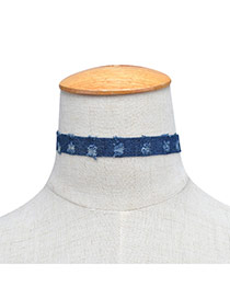 Fashion Dark Blue Hole Decorated Pure Color Design Patchwork Width Choker