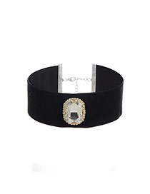 Fashion Black Square Shape Diamond Decorated Color Matching Choker