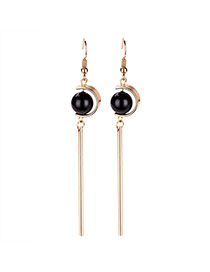 Retro Gold Color Pearl Shape Decorated Simple Tassel Earring