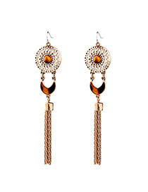 Retro Gold Color Hollow Out Round Shape Decorated Tassel Earring