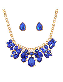 Luxury Sapphire Blue Waterdrop Shape Diamond Decorated Short Chain Necklace Sets