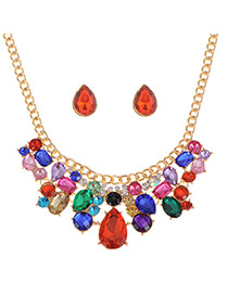 Luxury Multi-color Waterdrop Shape Diamond Decorated Short Chain Necklace Sets