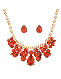 Luxury Red Waterdrop Shape Diamond Decorated Short Chain Necklace Sets