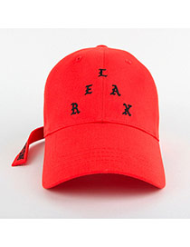 Personality Red Letter Shape Embroidery Decorated Simple Hat