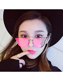 Fashion Red Wing Shape Decorated Pure Color Simple Sunglasses