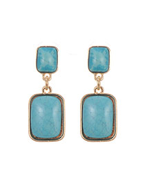 Retro Blue Square Stone Decorated Simple Earring