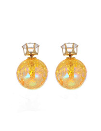 Sweet Yellow Ball Shape Decorated Pure Color Earring