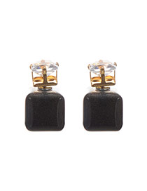 Sweet Black Square Stone Decorated Pure Color Earring