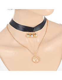 Elegant Gold Color Sun Shape&ball Pendant Decorated Double Layer Chocker